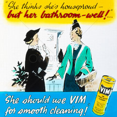 'Vim - for smooth cleaning'  advertisement  c 1950s.