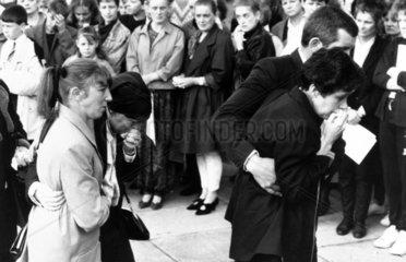 Parents of John Gilhooley at his funeral  April 1989.