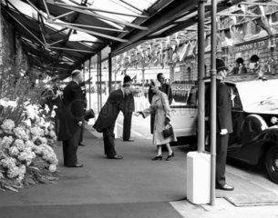 Queen Elizabeth II arriving at Ballater.