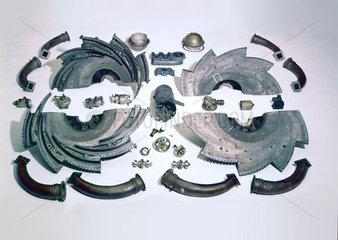 Whittle W1 jet propulsion engine (disassembled)  1941-1944.