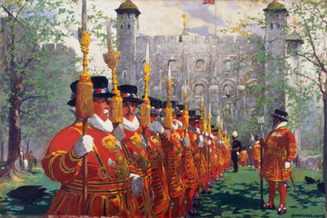 'The Tower of London'  c 1950s. Oil paintin