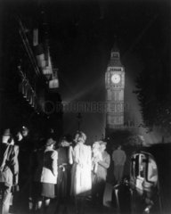 Big Ben illuminated on the night of VE Day