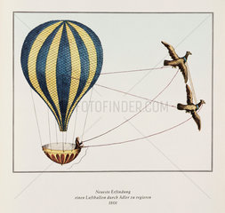 'Newest invention - an air balloon being piloted by Adler'  1801.