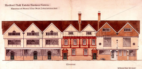 Tabard Inn and stores  Bedford Park Estate  Turnham Green  London  1880.