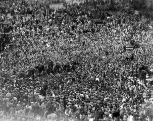 Crowds mob Churchill on his way to the House of Commons  8 May 1945.