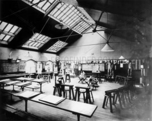An empty art room at Crewe Mechanics' Institute  Cheshire  17 July 1907.