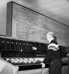 New signal box control unit  Victoria Station  London  April 1962.