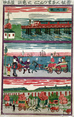 Various means of transport  Japan  c 1870s.