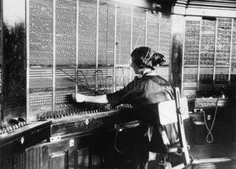 Operating the Victoria Telephone Exchange  1921.