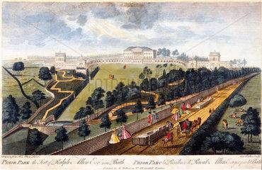 'Prior Park  the Seat of Ralph Allen  Esq  near Bath'  Somerset  c 1750.