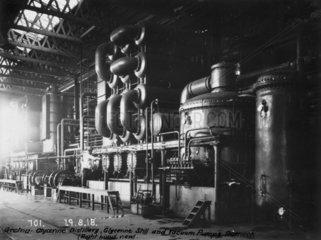 Glycerine still and vacuum pumps at Dornock  near Gretna  Scotland  1918.
