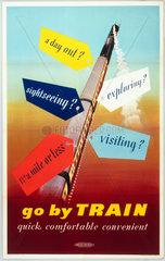 'Go by Train  Quick  Comfortable  Convenient'  BR poster  1952.
