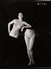 Nude study: woman cut in half  1960s.