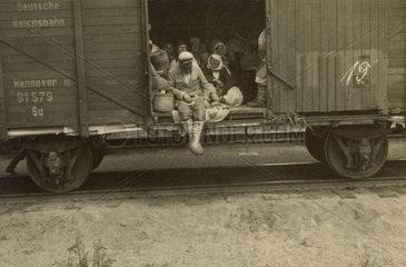 Refugees in German railway truck  Russia  Second World War  1940s.