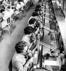 Female employees making transistors  Mullard Electronics  1961.