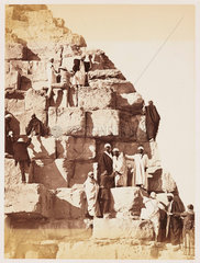 'Party ascending the Great Pyramid of Gizeh'  1882.