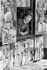 Gary Lineker looks out from a newstand  September 1985.