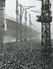 Launching the 'Queen Elizabeth'  Clydebank  Glasgow  1938.