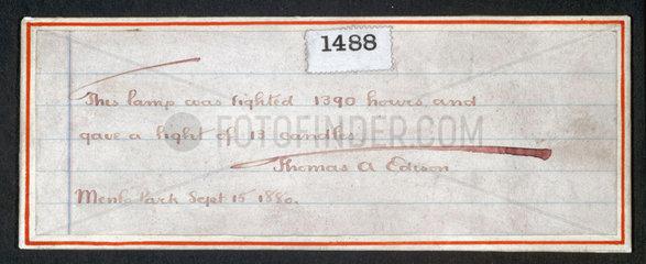 Edison's filament lamp certificate  1880.
