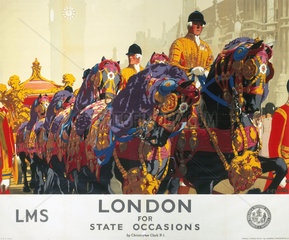 'London for State Occasions'  LMS poster  1930s.