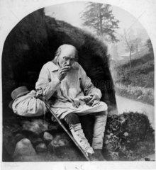 Elderly man eating  19th Century. Photograp