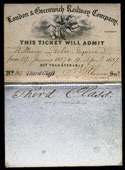 London & Greenwich Railway Company Season Ticket  1837.