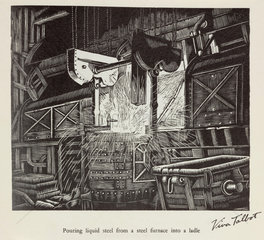 'Pouring liquid steel from a steel furnace into a ladle '  20th century.