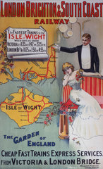'Isle of Wight: The Garden of England'  LB&SCR poster  1905.