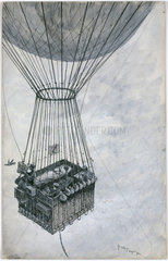 'An experiment to test the sustaining power of Andre's balloon'  1900.
