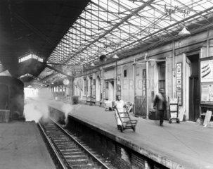 Platform 9  showing the Royal Scot bar  Euston Station  London  4 April 1963.