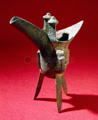 Bronze libation cup from a Chinese tomb  Chueh variety  1500-500 BC.