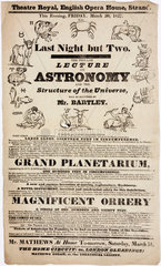 Lecture on astronomy by Mr Bartley  handbill  London  1827.