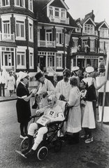Men and women in hospital fancy dress  collecting money for charity  1968.