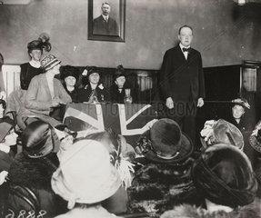 Winston Churchill makes a speech  Wanstead  10 October 1924.