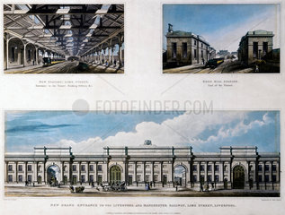 Three views of Liverpool and Manchester Railway  1836.