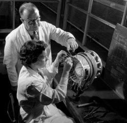 Supervisor and female electronics worker  English Electric  Bradford  1956.