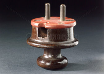 Two pin electrical mains plug  1901-1910.