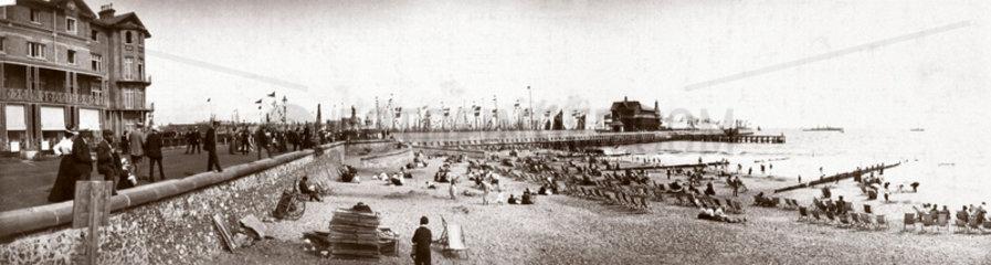 Panoramic view of an English seaside town  c 1900.