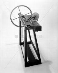 Machine for winding spiral springs  made by Joseph Bramah  c 1780.