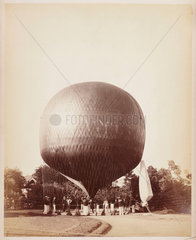 A balloon preparing for flight  1885-1890.
