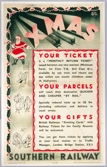 'Xmas - Your Ticket  Your Parcel  Your Gifts'  SR poster  1937.