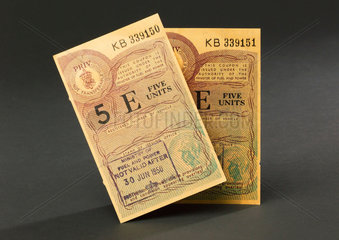 Motor Fuel coupons issued by the Minister of Fuel and Power  1950.