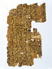 Piece of papyrus with hieroglyphic inscription  Egyptian  1400-1200 BC.