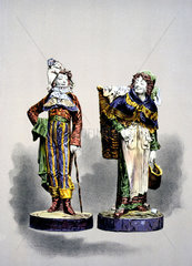 Two Palissy ware figures  1876.