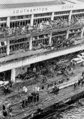 Crowds and streamers at Southampton Docks  27 September 1967.
