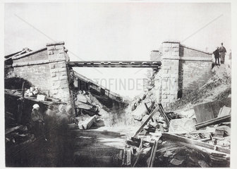 Biwajima Railway Bridge after the earthquake  Japan  1891.