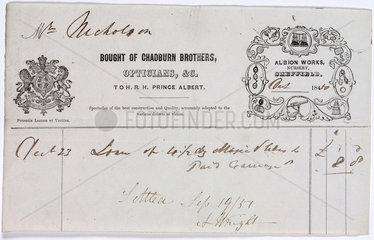 Receipt from Chadburn Brothers  opticians  1850.