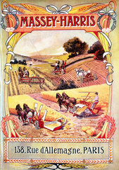 French poster advertising Massey-Harris farm machinery  1891-1910.