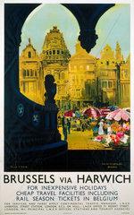 Brussels via Harwich  LNER poster  1923-1947.