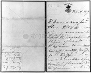 Letter from Queen Victoria concerning a chloroform assisted birth  1859.